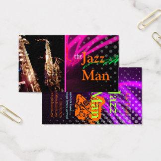 Jazz Man, Stylish neon lights/fluorescent colors Business Card
