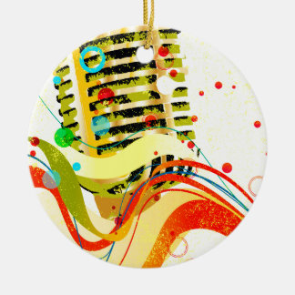 Jazz Microphone Poster Ceramic Ornament