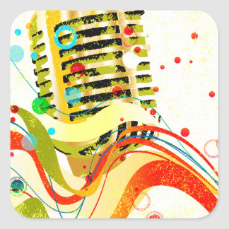 Jazz Microphone Poster Square Sticker
