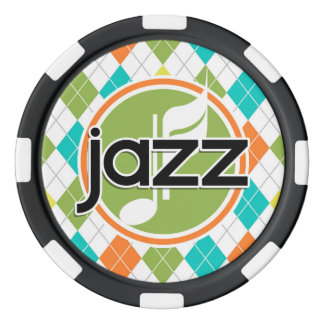 Jazz Music; Colorful Argyle Pattern Set Of Poker Chips