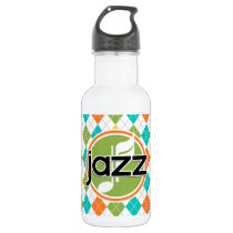 Jazz Music; Colorful Argyle Pattern Stainless Steel Water Bottle