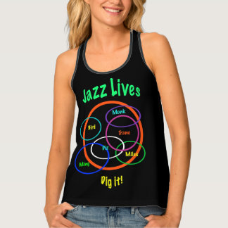 Jazz Music Colorful Black Tank Top
