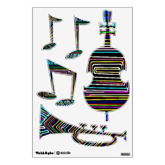 Jazz Music Festival - Dancing Bass Trumpet Wall Sticker