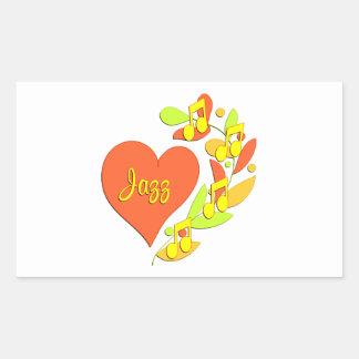 Jazz Music Heart Rectangular Sticker