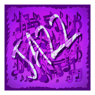 Jazz Music Notes Violet Purple Musical Pattern Art Posters