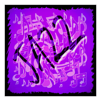 Jazz Music Notes Violet Purple Musical Pattern Poster