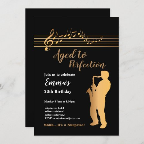 Jazz Music party invitation Aged to Perfection Invitation