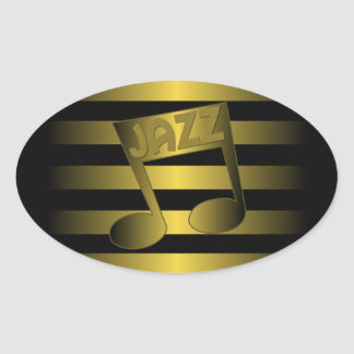 jazz music oval sticker