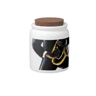 Jazz Musician Playing Saxophone Scratchboard Candy Jar