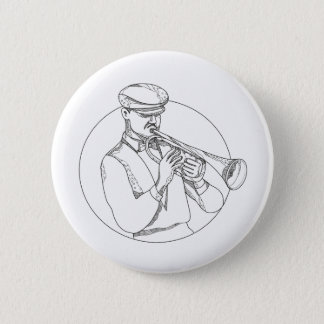Jazz Musician Playing Trumpet Doodle Art Button