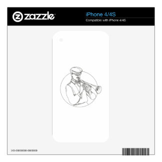 Jazz Musician Playing Trumpet Doodle Art Skin For iPhone 4