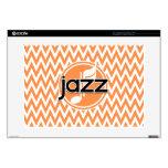 Jazz; Orange and White Chevron Laptop Skins