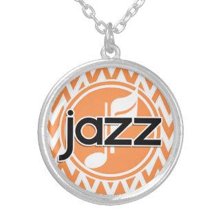 Jazz; Orange and White Chevron Necklaces