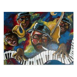 Jazz Quartet Musicians Folk Art Postcard