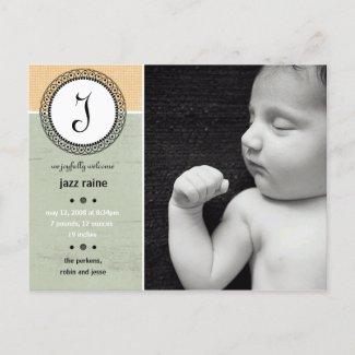 Jazz Raine Birth Announcement postcard