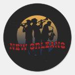Jazz retro de New Orleans Pegatinas Redondas