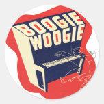Jazz retro de Woogie de la boogie del vintage Pegatinas Redondas