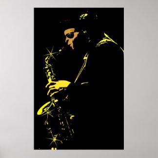 Jazz sax performer póster