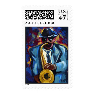 Jazz Sax Player Art Postage Stamp