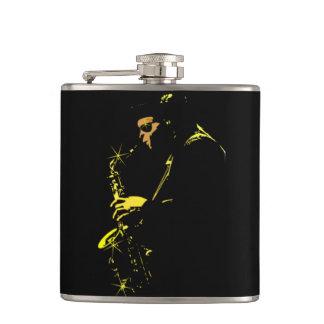 Jazz sax to performer hip flasks