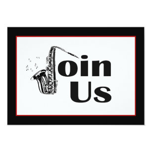 Jazz invitations announcements zazzle jazz saxophone join us party invitation stopboris Images
