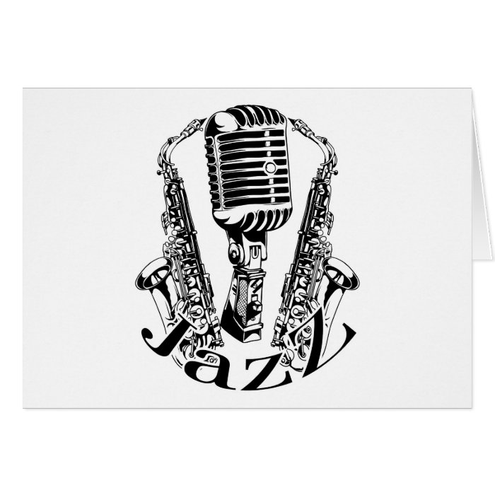Jazz ~ Saxophone Sax Microphone Music Card