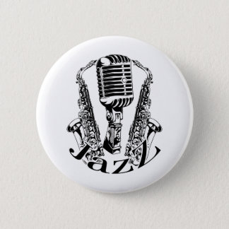 Jazz ~ Saxophone Sax Microphone Music Pinback Button