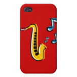 Jazz Saxophone with Notes iPhone Case iPhone 4 Cases