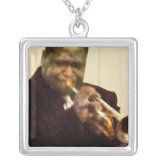 Jazz Trumpeter Silver Plated Necklace