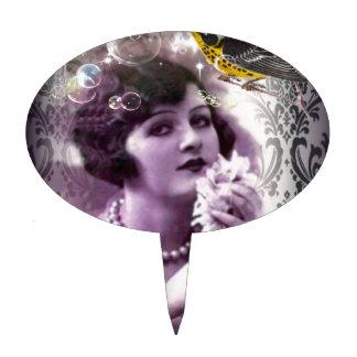 Jazz Vintage damask 1920s Lady Flapper Girl Paris Cake Topper