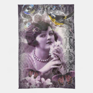 Jazz Vintage damask 1920s Lady Flapper Girl Paris Hand Towel