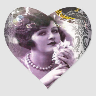Jazz Vintage damask 1920s Lady Flapper Girl Paris Heart Sticker