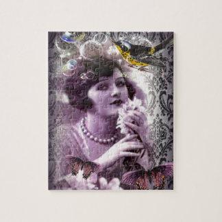 Jazz Vintage damask 1920s Lady Flapper Girl Paris Jigsaw Puzzle