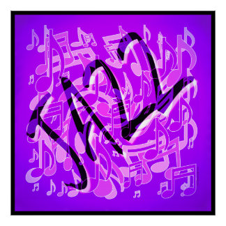 Jazz Violet Infusion Purple Music Notes Art Print