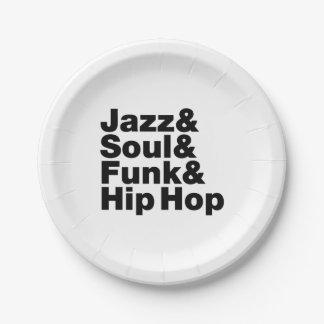 Jazz y alma y miedo y Hip Hop Plato De Papel De 7 Pulgadas