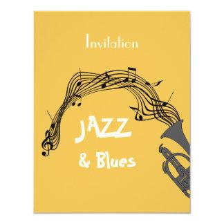 """Jazz y fiesta temático de los azules invitación 4.25"""" x 5.5"""""""