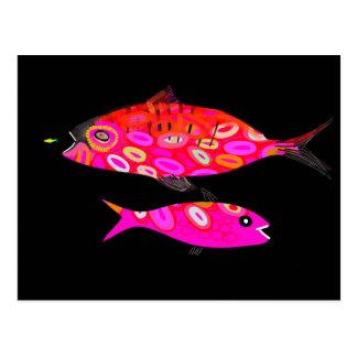 Jazzfish psychedelic tropical fish design postcard