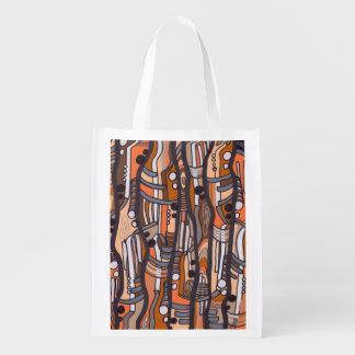 Jazzy Abstract Earthtones Grocery Bag