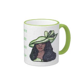 JAZZY CLASSY LADY-MINT GREEN RINGER MUG