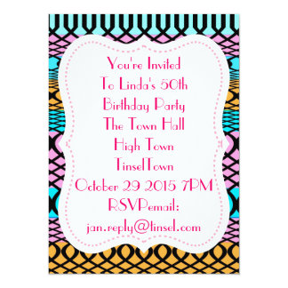 Jazzy Colorful Stripe And Loop Patterned Invites