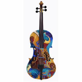 Jazzy Colorful Violin Art Photo Sculpture
