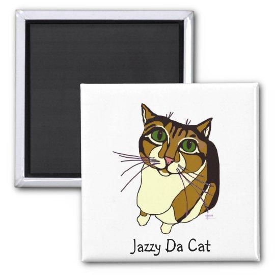 Jazzy Da Cat Sq Magnet