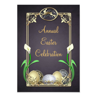 Jazzy Dashing Bunny Black Easter Invitations