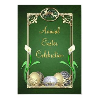"Jazzy Dashing Bunny Green Easter Invitations 5"" X 7"" Invitation Card"