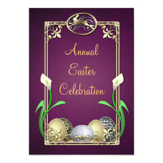 "Jazzy Dashing Bunny Plum Easter Invitations 5"" X 7"" Invitation Card"