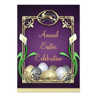 "Jazzy Dashing Bunny Purple Easter Invitations 5"" X 7"" Invitation Card"