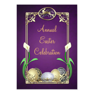 Jazzy Dashing Bunny Purple Easter Invitations