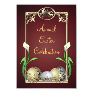 """Jazzy Dashing Bunny Red Easter Invitations 5"""" X 7"""" Invitation Card"""