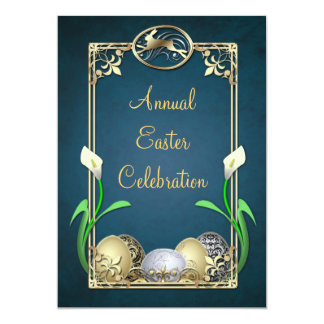 """Jazzy Dashing Bunny Teal Easter Invitations 5"""" X 7"""" Invitation Card"""