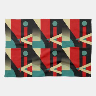Jazzy Geometric Pattern | black teal red beige Kitchen Towel